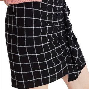 Madewell Windowpane Ruffle Front Miniskirt
